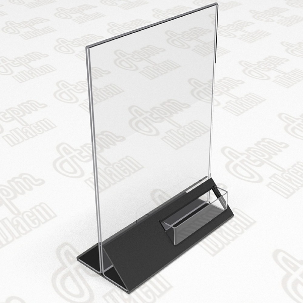 Подставка для информации с визитницей. Формат  А5-150x210 мм.