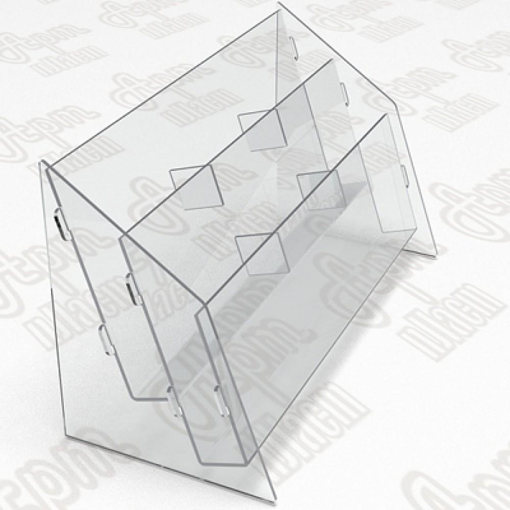 Буклетница пластиковая-2 яруса-3 секции. Формат 1/3 А4-105x210мм