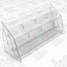 Буклетница пластиковая-2 яруса-4 секции. Формат 1/3 А4-105x210мм