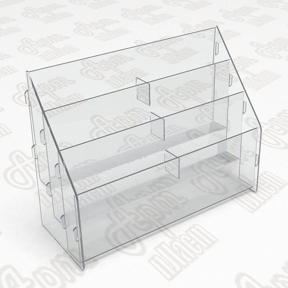 Буклетница пластиковая-3 яруса-2 секции. Формат 1/3 А4-105x210мм