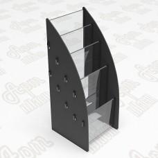 Буклетница пластиковая на 4 яруса. Формат 1/3 А4-105x210мм