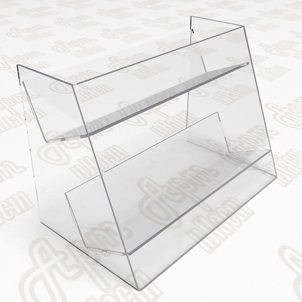 Пластиковый стеллаж под товары на 2 полки.